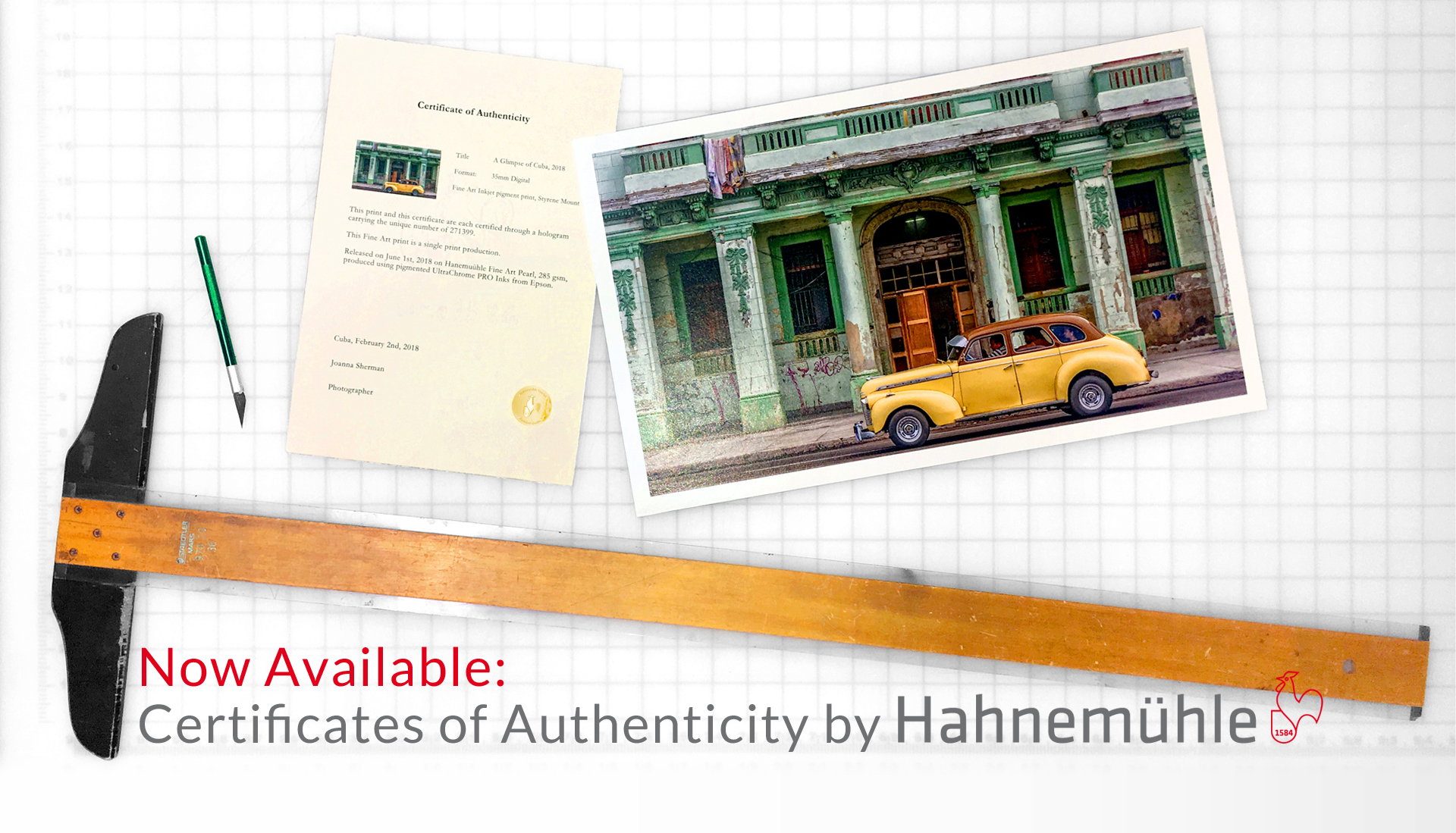 Hahnemuhle Certificate of Authenticity, Holographic Artwork Protection System